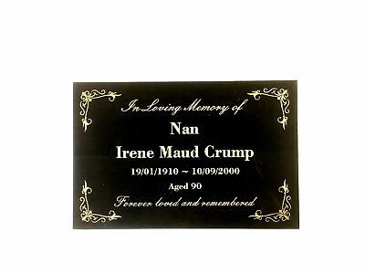 Grave Memorial Marker Custom Laser Engraved on Black Granite  300x200mm