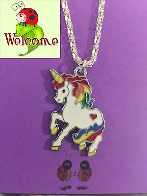 Multicolor Unicorn Silver Plated Necklace Aus Seller (Horse, My Little Pony)175W