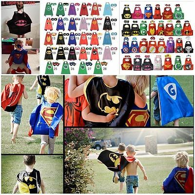 Kids Superhero Boy Girl Cape & Mask Party Costume Set Superman Batman Spiderman