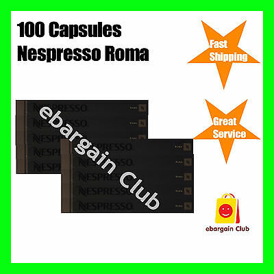 100 Capsules Nespresso Coffee Roma Premium Intense Coffee Pod Express Post
