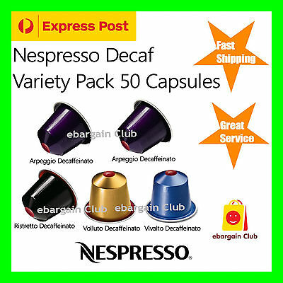 50 Capsules Nespresso Coffee Decaf Decaffeinato Variety Pack Pod Popular eBClub