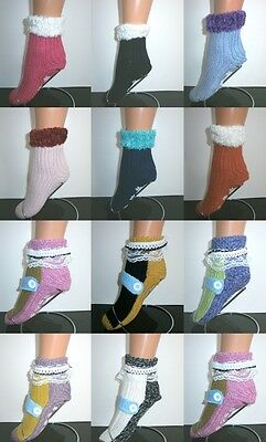 Women's Chunky Knit Bed Slipper Gripper Non Slip Ankle Short Socks One Size Uk