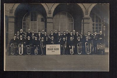 Rhyl Brass Band 1909 - real photographic postcard