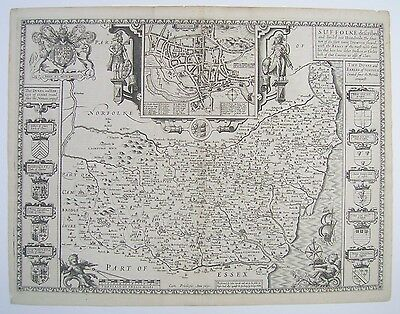 Suffolk: antique map by John Speed, 1616 (Latin edition)