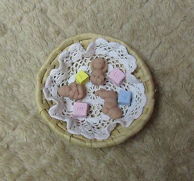 """Triplet Babies each 1.5"""", with Round Basket, Blanket and Blocks Polymer Clay"""