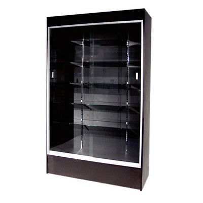"""#WC4B 48"""" Long By 78"""" TALL FULL VISION WOOD WALLCASE TROPHY DISPLAY CASE BLACK"""