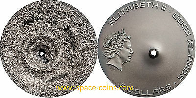 2016 Cook Islands, Tamdakht Meteorite Strike, $2 silver antique + box