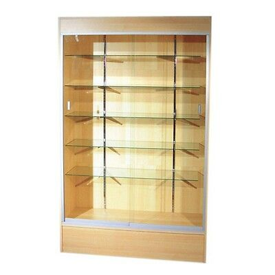 "Trophy Case, Glass Display Case, 48"" Long x 78"" Tall Maple, #WC4M"