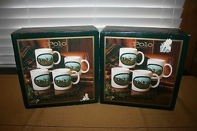 2-Boxed Set of 4 Ralph Lauren Polo Coffee Cups, Playing Polo, Horses, Equestrian