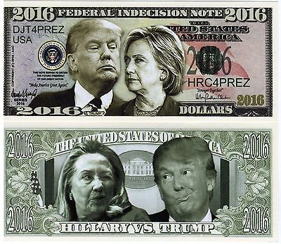 Trump Hillary Federal Indecision Note Novelty Money