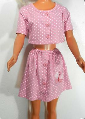 My Size Barbie Pink w White Polka Dots & Butterfly Buttons Midriff Top & Skirt