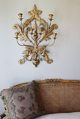Antique Italian Tole Gilt Wall Sconce Candelabra Breathtaking!
