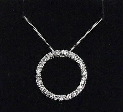 Sterling Silver Circle Of Life Cz Pendant With An 18 Inch Curb Chain-New In Box