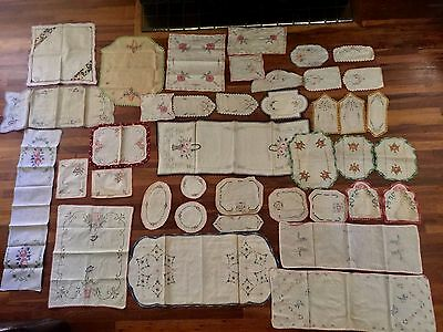 Vintage Lot of 44, Embroidered,Linen,Tea Towels Napkins, Table Runners Doillies