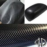 4D Black Carbon Fibre Vinyl Wrapping Car Van Roof Bonnet shinny 2m x1.52m