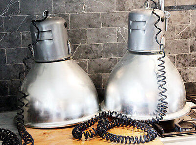 Rare Pair Antique Industrial Xlrg Pendant Lights Stainless Steel Gorgeous