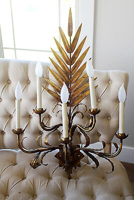 Antique Xlrg Italian Tole Gilt Palm Frond Sconce Beautiful Patina