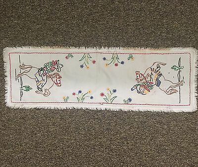 Vintage Cowboy Cowgirl  With Fringe Trim Linen Table Runner Western Embroidered