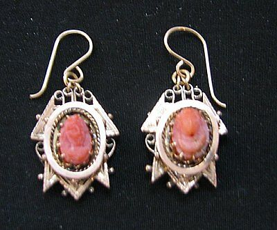 Antique Victorian, Gold Filled Gf Or Rgp. Coral Cameo Dangle Earrings