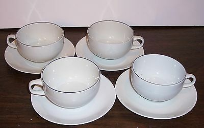 4 Sets  Royal Copenhagen Blue Line Cups And Saucers # 3074 Fajance