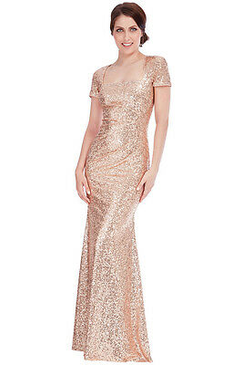 07de8df8 Goddiva Square Neck Champagne Sequin Prom Maxi Wedding Bridesmaid Party  Dress