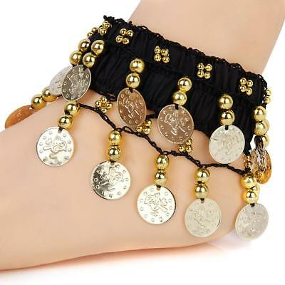 Gold Coins Anklet Bracelet Bollywood Belly Dance Tribal Costume Arm Cuff