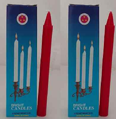 2x Three Stars Bright Candle Red 8oz - 6 pcs Religious Ceremony Temple New Year