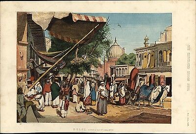 Delhi street Jumma Musjid India 1857 rare color lithographed city view print