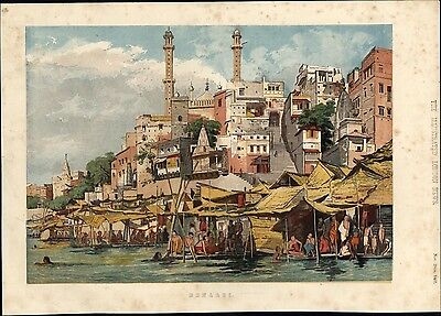 Varanasi Benares Ganges prayers India 1857 rare beautiful color city view print