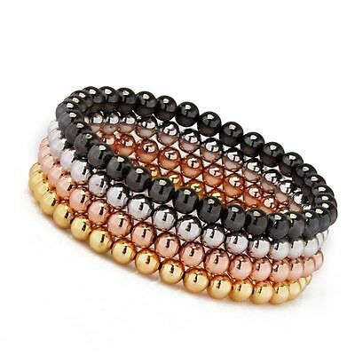 Men's Woman's 18kt Gold Plated Beads Beaded Stretch Bracelet 4 Colors For Gifts