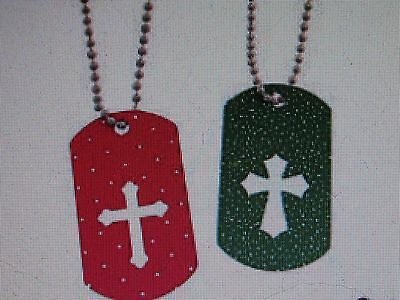 12 Cross Cutout CHRISTMAS Dog Tag NECKLACES religious holiday jewelry FREE SH