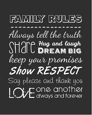 Family rules!Canvas Print Choose Your Size