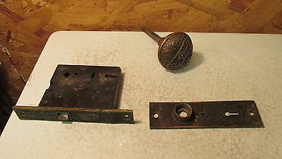 Antique Norwalk Eastlake Bras Mortise Lock Knob & Plate