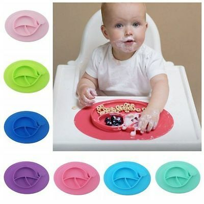Silicone Baby Feeding Toddlers Infants Plate One-piece Dish Portable Placemat