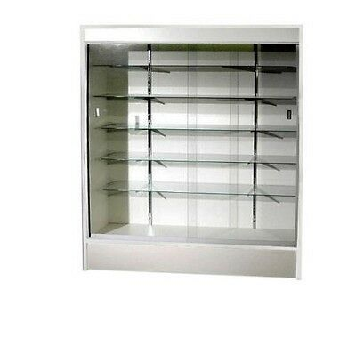 """Trophy Case, Glass Display Case, 70"""" Long x 78"""" Tall White, #WC6W"""