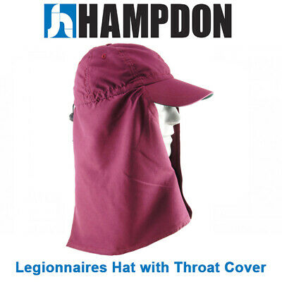 Legionnaire Hat with Throat Cover – Maroon – One Size Fits All– UV Protect