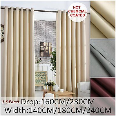 100% Blockout Blackout Pure Fabric Thermal Insulated Eyelet Curtain Single Panel