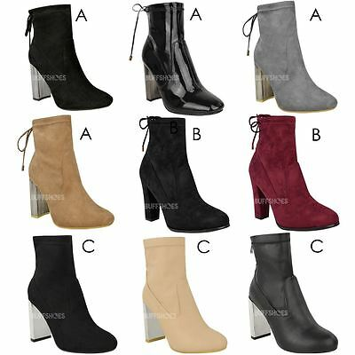 Womens Ladies Low Mid Block Heel Chelsea Ankle Boots Casual Winter Shoes Size