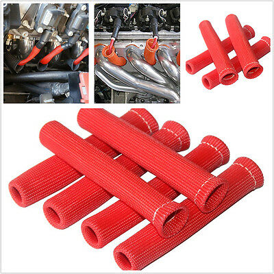 Red 8X Spark Plug Wire Boot Heat Shield Protector Sleeve Sleeving Fuel Oil