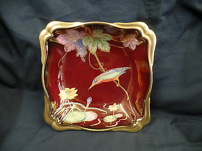 Carlton Ware Rouge Royale Kingfisher square bowl hand painted 1946 2145