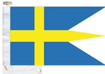 Sweden Navy Ensign Triple-Tailed Courtesy Boat Flag Roped & Toggled