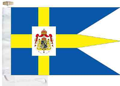 Sweden Royal Standard Triple-Tailed Courtesy Boat Flag Roped & Toggled