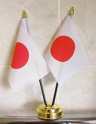 JAPAN X2 TABLE FLAG SET 2 flags plus GOLDEN BASE JAPANESE