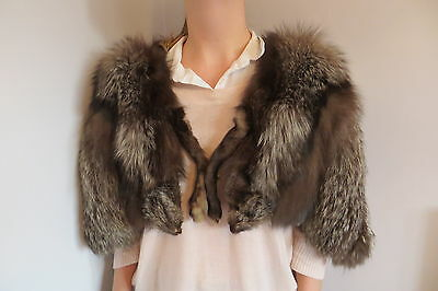 Stunning  D. H. Evans Two Tone Silver Fox Fur Cape Stole Shrug