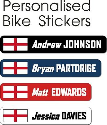 6 Personalised England Flag Bike Stickers Cycle Frame Name Helmet Decals Cycling