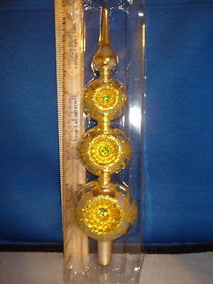 Tree Topper Glass Finial Reflector Gold Glitter 15 inches GG0373  253
