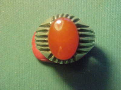 Near Eastern  hand crafted solid silver   ring  with Carnelian stone 1700-1900
