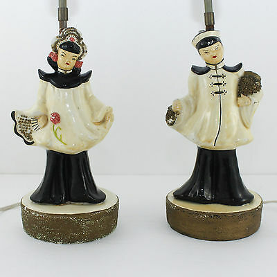 Vintage Moss Lamp Asian Boy Girl Chalkware Set Pair Man Woman Chinese