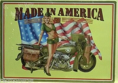 MADE IN AMERICA metal sign military Harley pinup girl motorcycle pin up gp-13