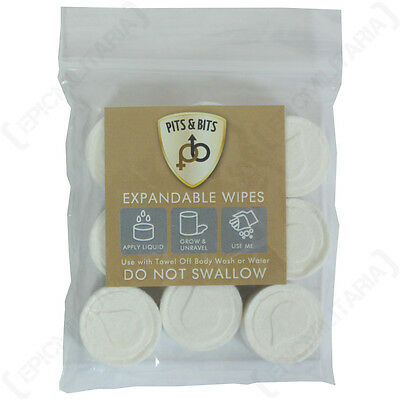 9X PITS AND BITS EXPANDABLE BODY/FACE WIPES - Camping Festival Hiking Cloths